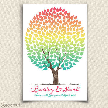 Unique Wedding Guest Book Rainbow Tree - Vivawik - Peachwik Interactive Art Print - 225 guests - Rainbow Wedding Tree Guest Book -Ombre Chic