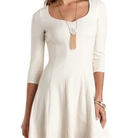 Chevron-Textured Glitter Skater Dress - White Combo