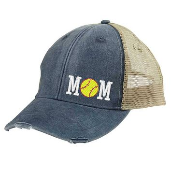 Girl's Softball Mom Distressed Snapback Trucker Hat - off-center