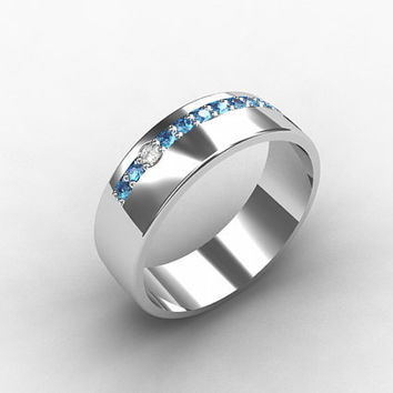Blue diamond ring,white gold, wedding band, men diamond ring, men wedding band, men blue diamond, eternity, unique