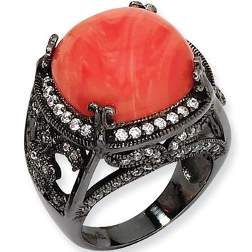 Black Plated Cubic Zirconia Faux Red Coral Ring by Cheryl M