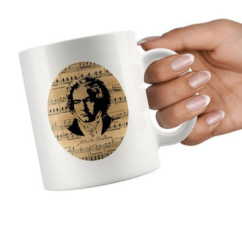 Beethoven Mug, Ludwig van Beethoven, Sheet Music Mug, German Composer, classical Music Mug, Pianist Gift, vintage music notes, Musician Mug