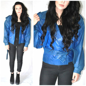 80s ELECTRIC blue small LEATHER jacket vintage 1980s glam ROCK cropped leather bomber jacket small medium