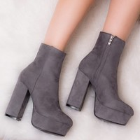 VIVACIOUS Grey Ankle Boots Shoes from Spylovebuy.com