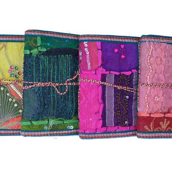 Fabric Art Sari Journal Favors Gifts Handmade Paper / Diary / Notebook / Decorated / Weddings  - Set of 8 - expedite shipping (5.50 each)