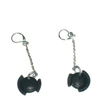 handmade black dome drop earrings