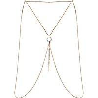 River Island Womens Gold tone encrusted circle body harness