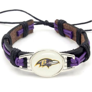 New Fashion Baltimore Ravens Football Team Leather Bracelet Adjustable Leather Cuff Bracelet For Men and Women Fans 10PCS