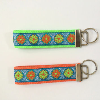 Key fob wristlets in cute flower pattern