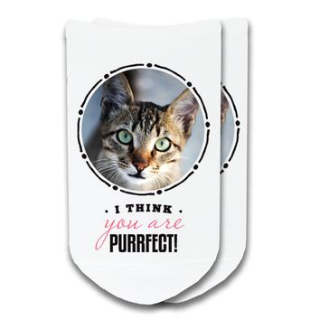 Your Pet's Photo on Socks - I Think You Are Purrfect No-Show Socks