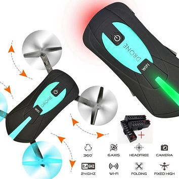XRNT N903 Portable Mini Selfie Drone Foldable Helicopter Pocket Folding Selfie Drone RC Drones with Camera HD FPV RC Helicopter
