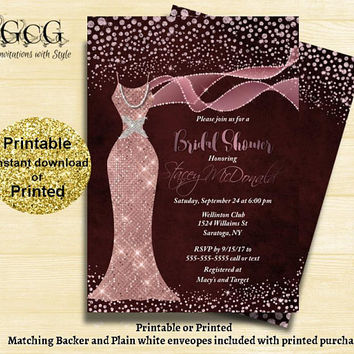 Burgundy Blush  Bridal shower invitation - Sparkle Dress Invitation - Diamond dress Invitation -Blush Sequin dress Shower - Printable invite