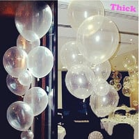 100pc/lot 12inch Round Clear Transparent Balloons Wedding Decoration Event Party Supplies Latex Helium Balloon Toy Latex Balloon (Size: 12 inch, Color: White) = 1932553668