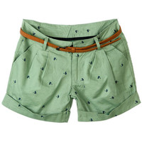 ROMWE | Cat Print Belted Green Shorts, The Latest Street Fashion