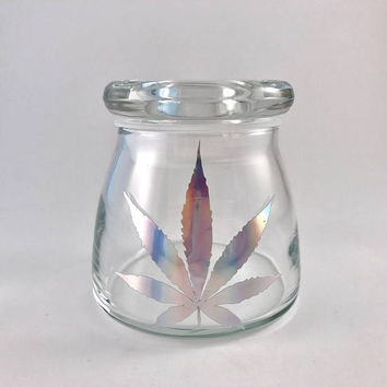 Holographic Leaf Stash Jar | Marijuana Accessories | Weed Jar | Stoner gifts