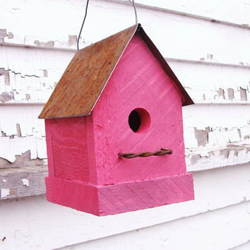 Flamingo Hot Pink Birdhouse Rustic Industrial by baconsquarefarm