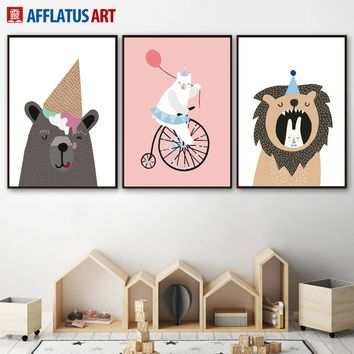 Cartoon Bear Lion Rabbit Ice Cream Wall Art Canvas Painting Nordic Posters And Prints Animals Wall Pictures For Kids Room Decor
