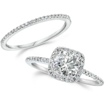 1CT Diamond Engagement Ring Cushion Halo Wedding Ring Set