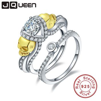 JQUEEN Brand Jewelry 1.25ct Cubic Zirconia Stone Skull Ring 925 Sterling Silver Rings for Women set Wedding Engagement Jewelry