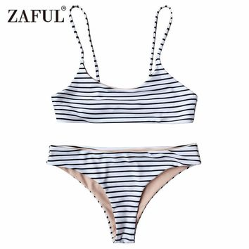 Zaful 2017 New Women Striped Cami Bralette Bikini Set Sexy Low Waisted Spaghetti Straps Two Pieces swimsuit female swimwear