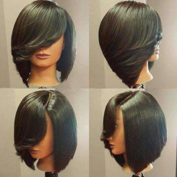 Short Deep Side Upward Part Straight Inverted Bob Synthetic Wig - Black | Fwresh Beauty