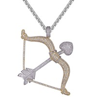 New Cupid's Bow And Arrow Iced Out Designer Love Pendant