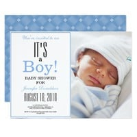 It's a Boy! Blue Baby Shower Photo Invitation