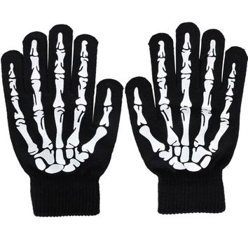 2016 New fashion Warm Knitted Winter Gloves For Men Women Halloween Night Luminous Skull Skeleton Gloves G-334