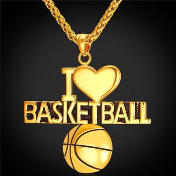I Love Basketball Pendant Charm Necklace