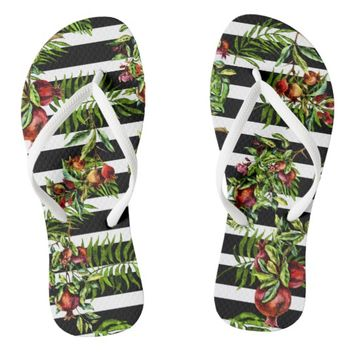 Pomegranates, Stripes, and Tropical Leaves Flip Flops
