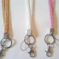 Round Pearl Rhinestone Lanyard Id Badge Holders Key Chains