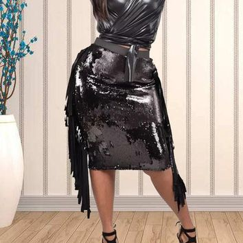 New Black Patchwork Sequin Tassel Two Piece V-neck PU Leather Latex Vinly Long Sleeve Clubwear Party Midi Dress