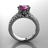 Classic 14K White Gold 1.0 Ct Pink Sapphire Diamond Solitaire Engagement Ring R1027-14KWGDPS