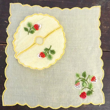 Cocktail coaster & napkin set, vintage 12 pc yellow linen with embroidered strawberries, cottage chic table decor