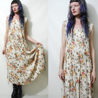 90s Vintage FLORAL Dress White Cream BABYDOLL Gauzy Pleated Country Folk Boho Bohemian Hippie Grunge 1990s vtg S M