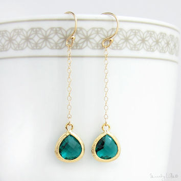 Emerald Long Drop Earrings - Crystal Bezel Earrings, Long Dangle Earrings, Dainty Chandelier Earrings, Gold Framed Earrings, Bridesmaid Gift