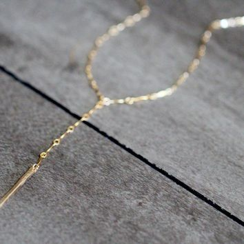 Scalloped Bar Lariat Necklace