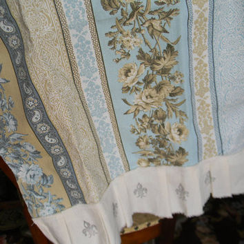 Shabby Chic French Fleur De Lis Aqua and Brown Toile Roses Hand Stamped Towel
