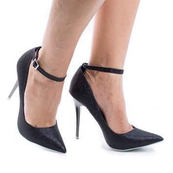 Audrey Black Shimmer Classic Stiletto High Heel Ankle Strap Pointy Toe Dress Pumps