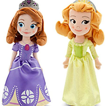 "Disney Store Sofia the First 13"" Plush Doll Set Featuring Sofia and Amber"