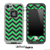 Lime Green and Black Chevron V4 Skin for the iPhone 5 or 4/4s LifeProof Case