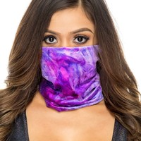 Purple Tiedye Crushed Velvet Face Mask