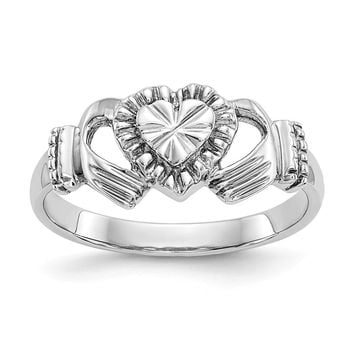 14K White Gold Child's Polished & Diamond Cut Claddagh Ring