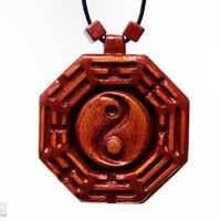 Bagua Necklace – Feng Shui Jewelry – Tai Chi Bagua Necklace – Chinese Pendant - Spiritual Gifts - CristherArt Wood Jewelry