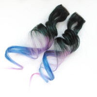 Blackbird / Human Hair Extension / Black Purple Blue / Long Tie Dye Colored Hair