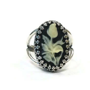 Cameo Ring Sterling Silver Jewelry Adjustable Jewellery Flower Black Cream Ebony Ivory Traditional
