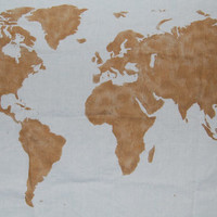 World Map Wall Tapestry in Gold