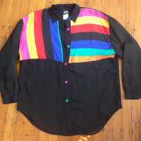Awesome 80s 90s Vintage Judy Knapp Sheer front Blouse Bright and Bold Colorblock Stripes sz Large