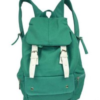 Green Canvas Backpack with Contrast Pin Buckle Belt Detail