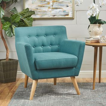 Madeira Buttoned Mid Century Modern Dark Teal Fabric Club Chair